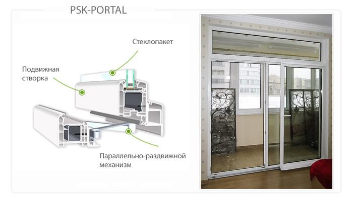 Раздвижные портальные двери на балкон PSK-Portal